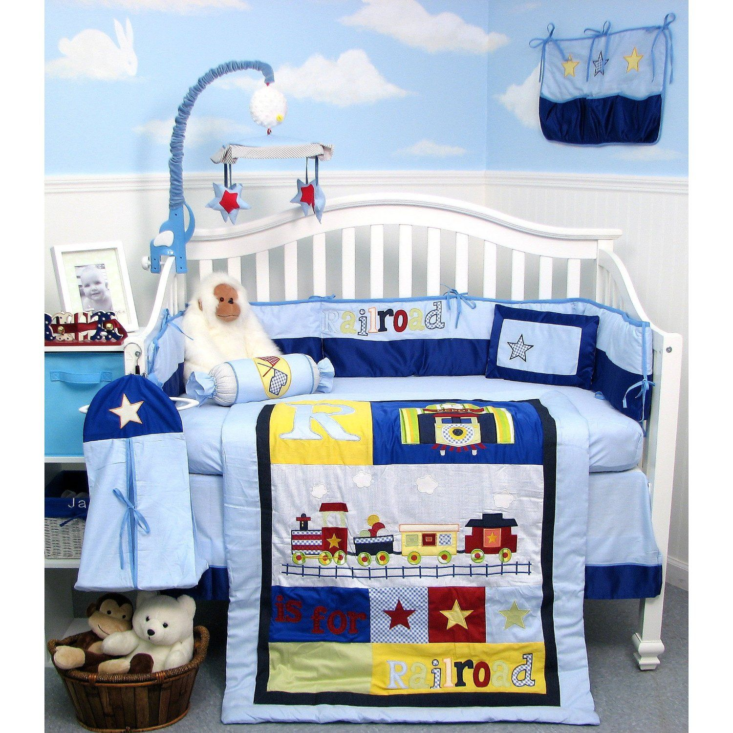 Soho Designs 13 Piece Railroad Train Baby Crib Nursery Bedding Set