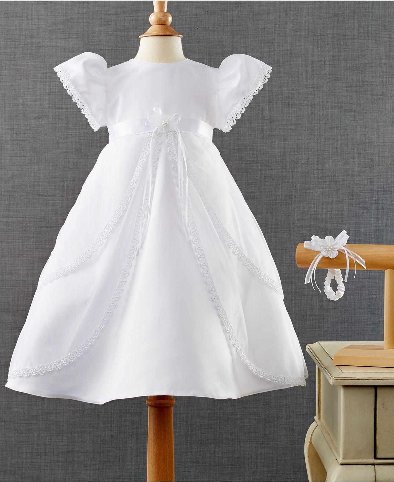 c2b5f2e96 (Dry clean) Lauren Madison Baby Girls' 2-Piece Headband & Christening Dress  Set - Sets - Kids & Baby - Macy's