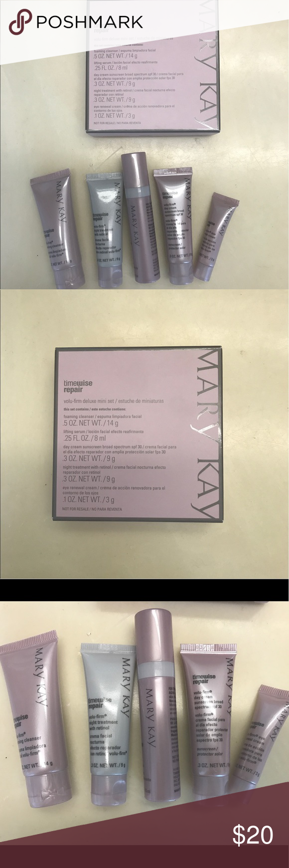 Mary Kay Timewise Repair Deluxe Set 5 items of Facewash, Serum, eye cream, night treatment with retinol, day cream with sunblock Sephora Makeup