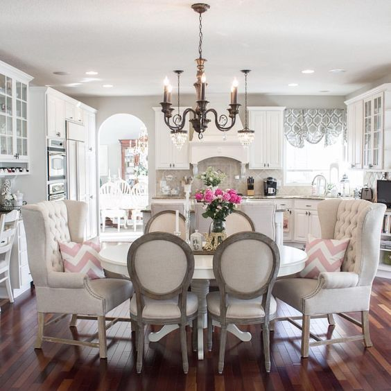 French Cottage Style Dining Room And Kitchen