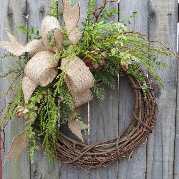 Great Succulent Wreath   Wreath Great For All Year Round   Everyday Burlap Wreath,  Door Wreath