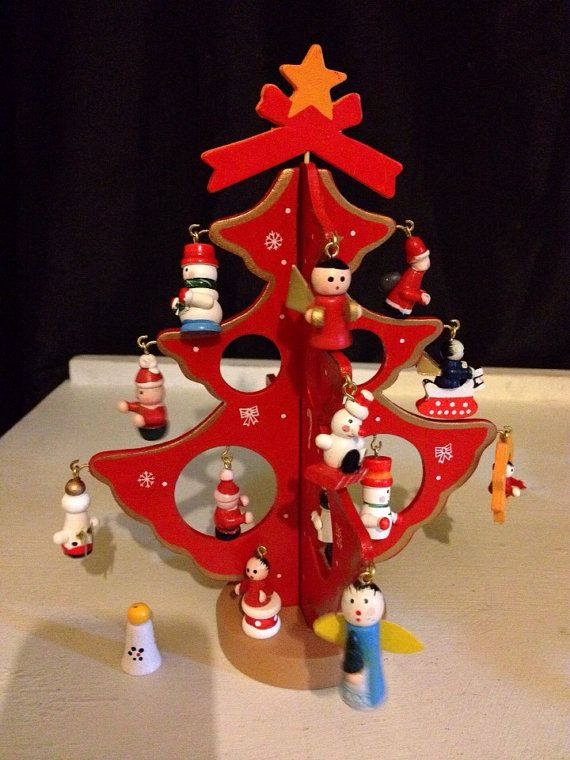 Vintage Traditional Wooden Miniature Christmas Tree With