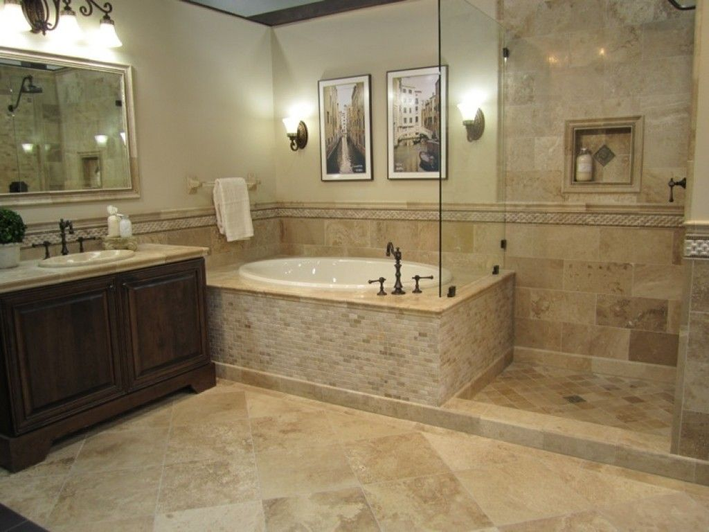 Cool travertine bathrooms pinteres for Travertine tile designs