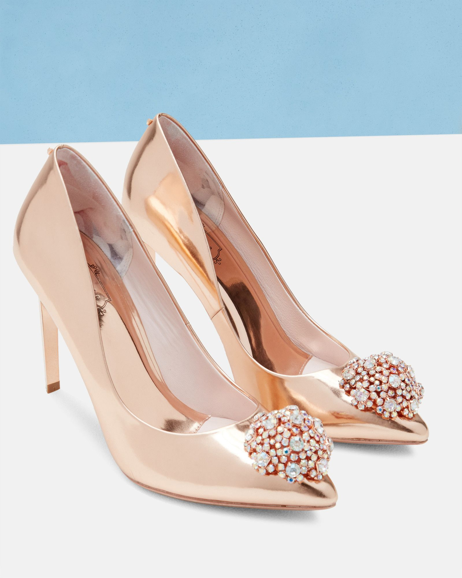 Brooch detail court shoes - Rose Gold  12d7e1aed1