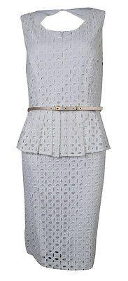 Ellen Tracy Women's Belted Eyelet Lace Keyhole Dress (4 White)