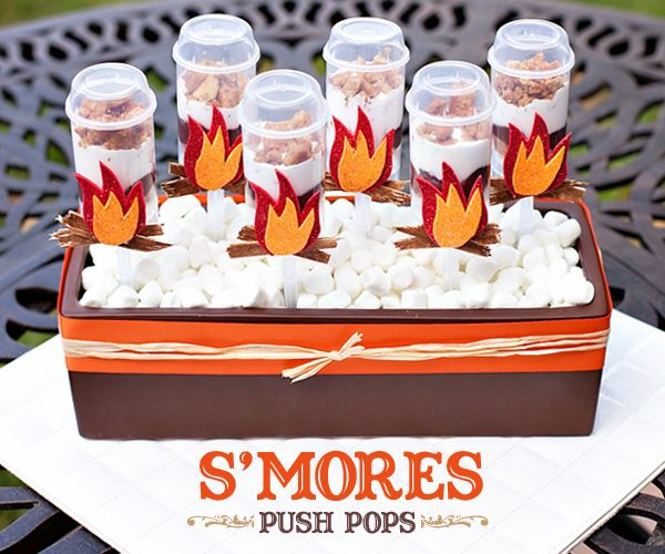 Ingredients:  – Graham crackers  – Jet-Puffed Marshmallow Creme  – 1/2 cup Butter (1 stick)  – Hershey's Chocolate Bars  – Chocolate pudding  – Push Pop Containers  – Ziplock bags (2 small, 1 large)    Instructions: