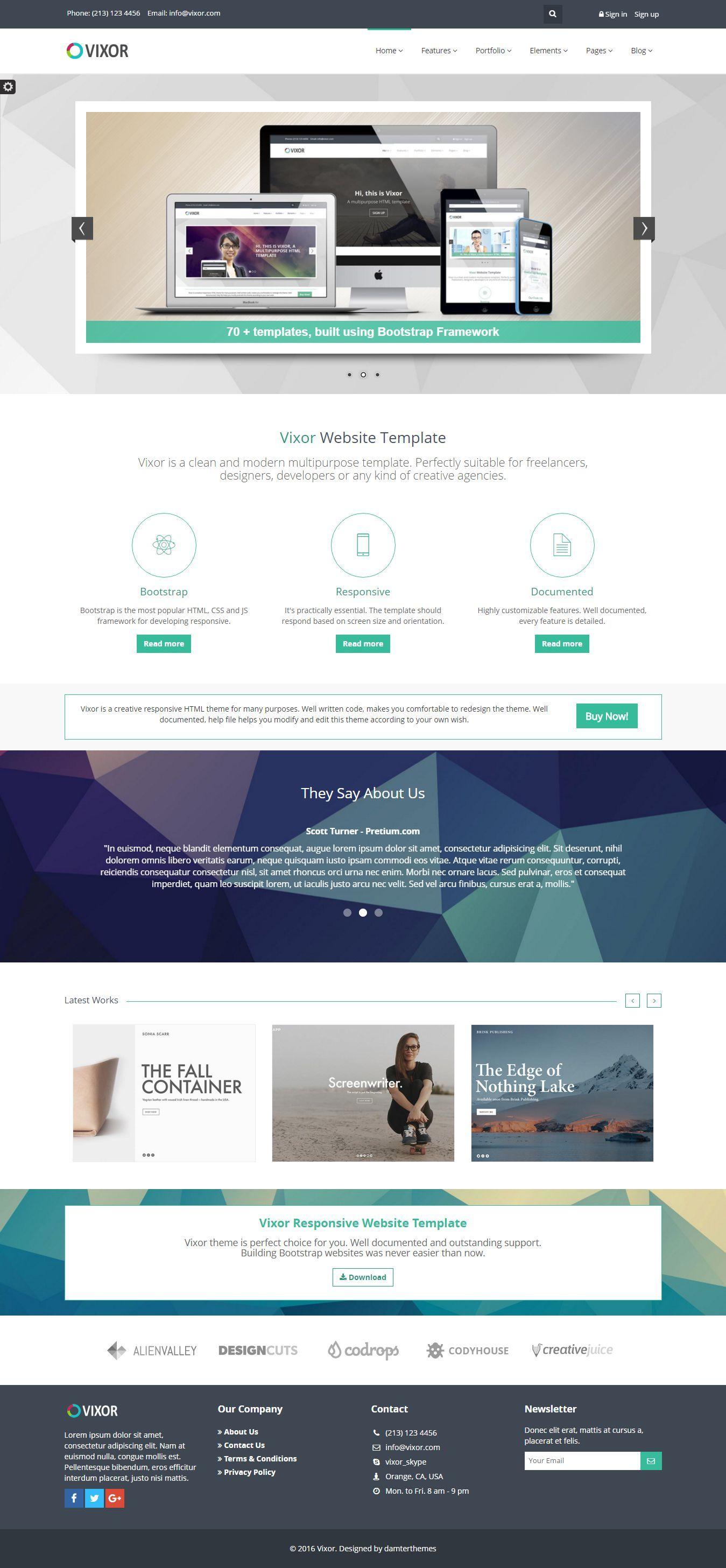Vixor Beautiful Responsive Website Template with 70+ homepage ...