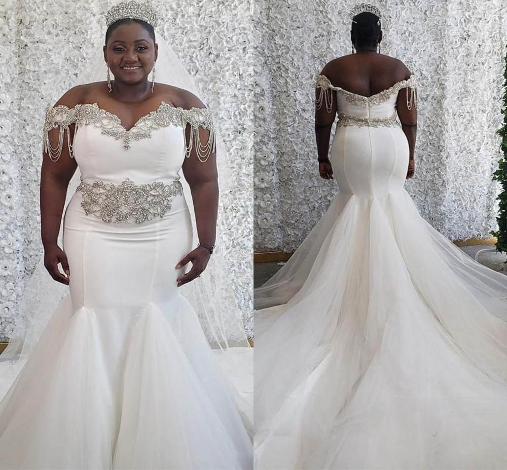 Crystal Beaded Off The Shoulder Plus Size Wedding Dress Darius Collection Mermaid Wedding Dress Country Bridal Gown Satin Mermaid Wedding Dress [ 928 x 1000 Pixel ]