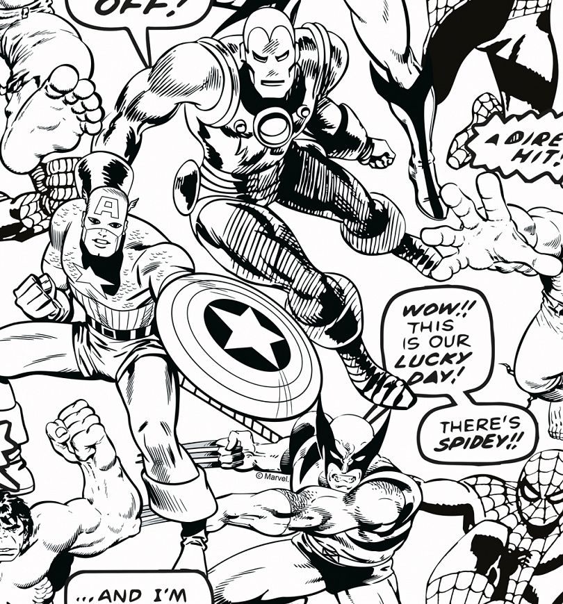 Marvel Comics Colour Your Own Superheroes Wallpaper 52cm X 10m Super Heroi Festa De Super Herois Papel De Parede Quarto