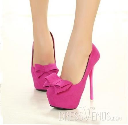 Stylish Euramerican Pink Bowknot Stiletto Heels Women Shoes.