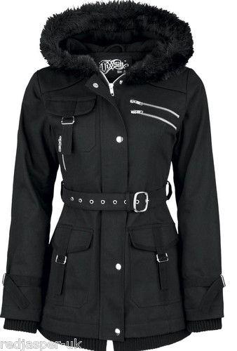 267a0bf08cf0 Poizen Industries Emo Gothic Punk Vixxsin Rize Jacket Warm Black ZIPPED