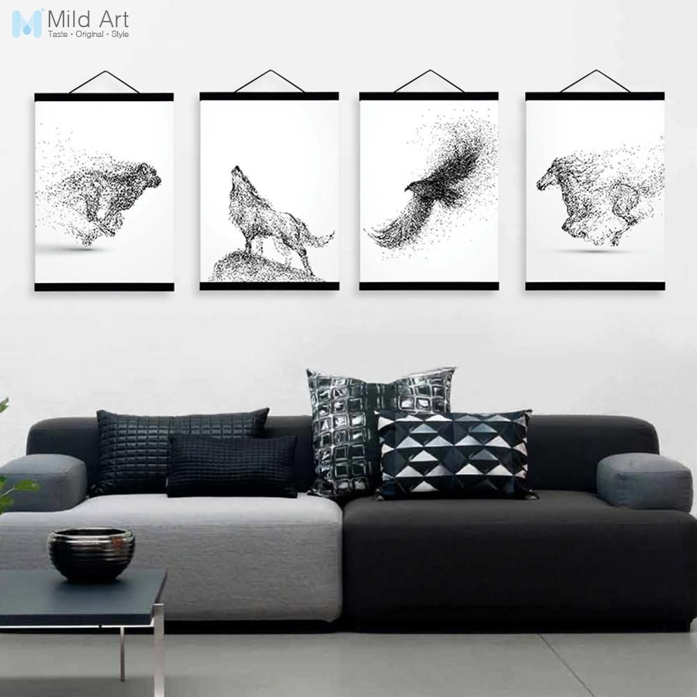 Abstract Black White Ink Animal Wolf A4 Wooden Framed Poster ...