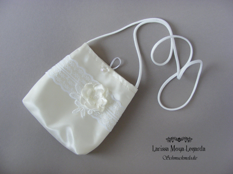Kommunion Tasche aus Satin mit Spitze, ivory, cream