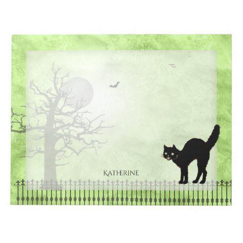 Personalize Halloween Black Cat Green Grunge BG Notepad 2017 - halloween decorations black cat