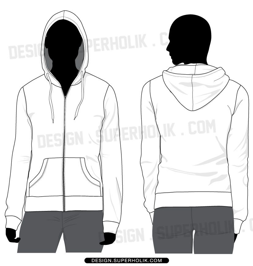 Zip-up hoodie template | Fashion Vector Templates | Pinterest
