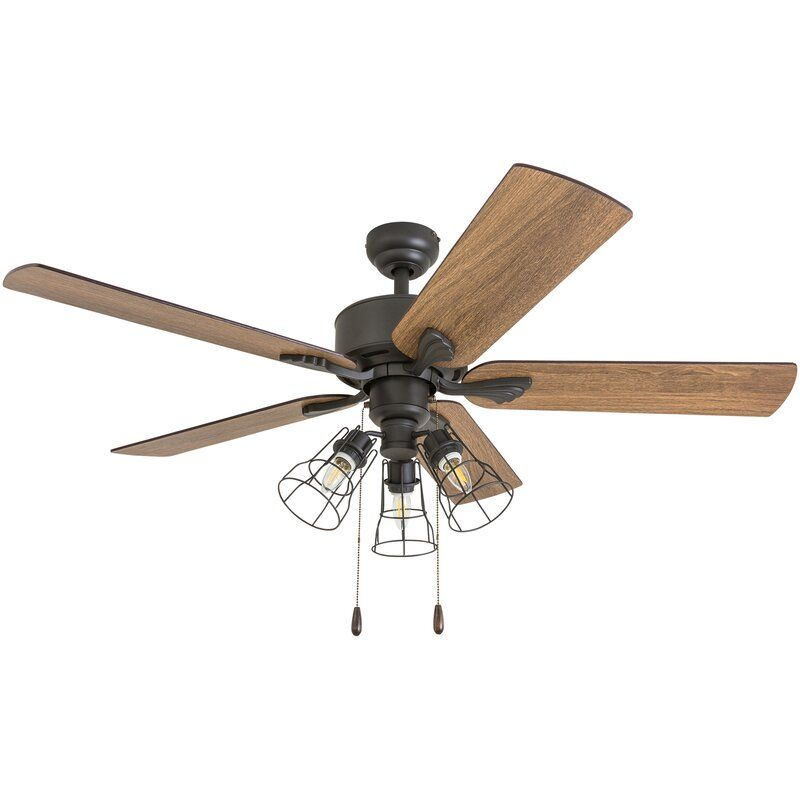 52 rankins 5 blade standard ceiling fan with light kit included bronze wrought iron lights