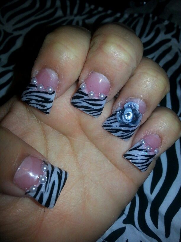 Duck Nail Tips Peral Zebra Design With 3 D Flower Passion For