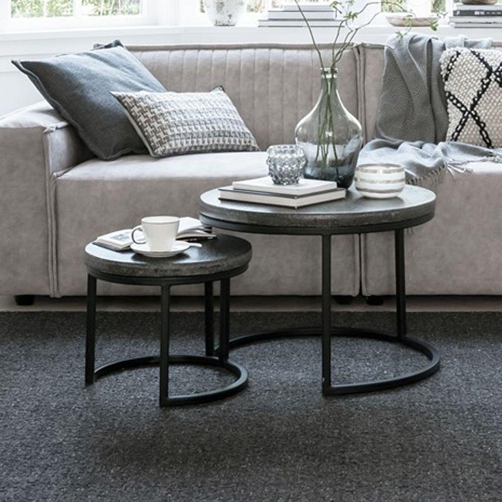 2er Set Beistelltische Mont Blank Rund Basalt Beton Metall Sofatisch Couchtisch New Maison Esto Ihr Grosser Mobel On Sofa Tisch Couchtisch Beistelltische