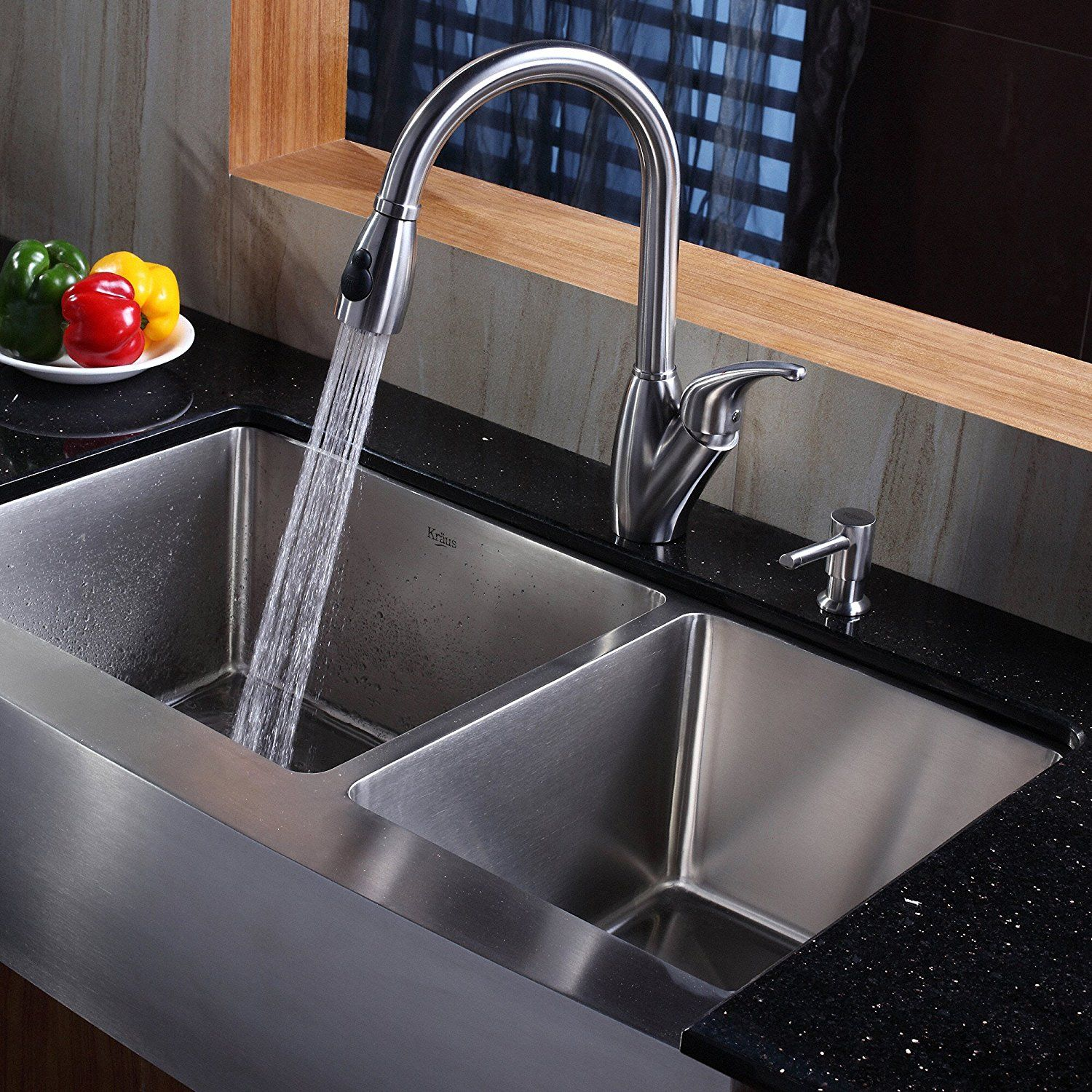sink p and steel single bowl sinks kraus dispenser soap undermount stainless faucet with kitchen