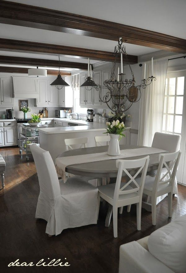 Gray Kitchen Table W White Chairs Adding Some Spring