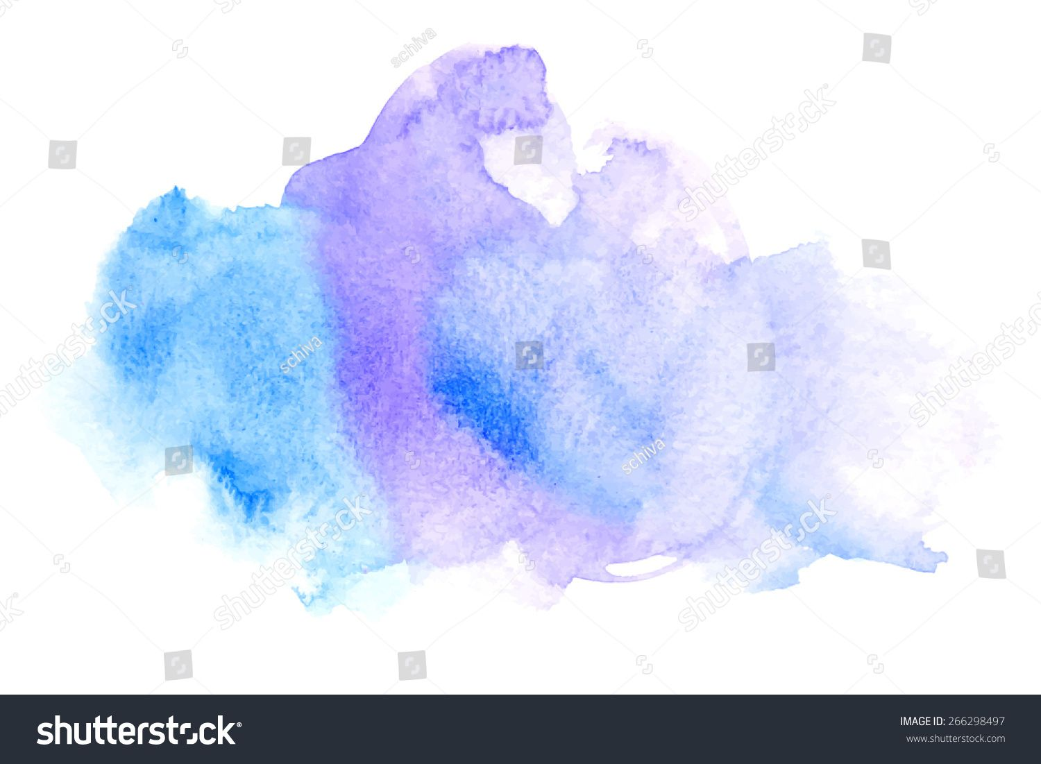 Vector Rectangular Blue Watercolor Drop Abstract Art Hand Paint