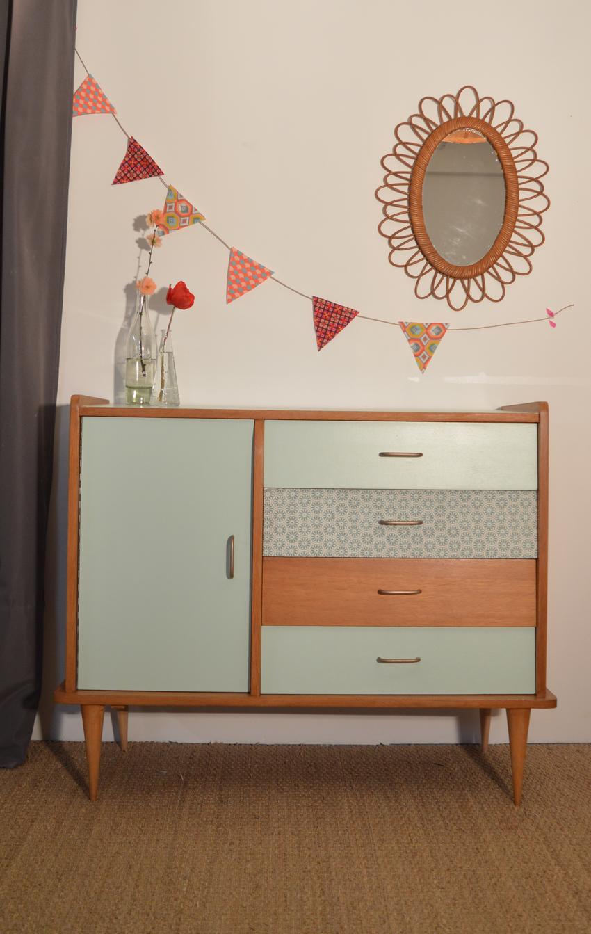 relookage d'un meuble des années 60 à la peinture. meuble peint déco