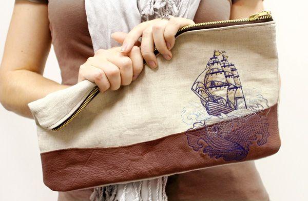 Urban Threads Tutorial - Linen & leather tattoo clutch. Sleek and stylish with a nautical twist.