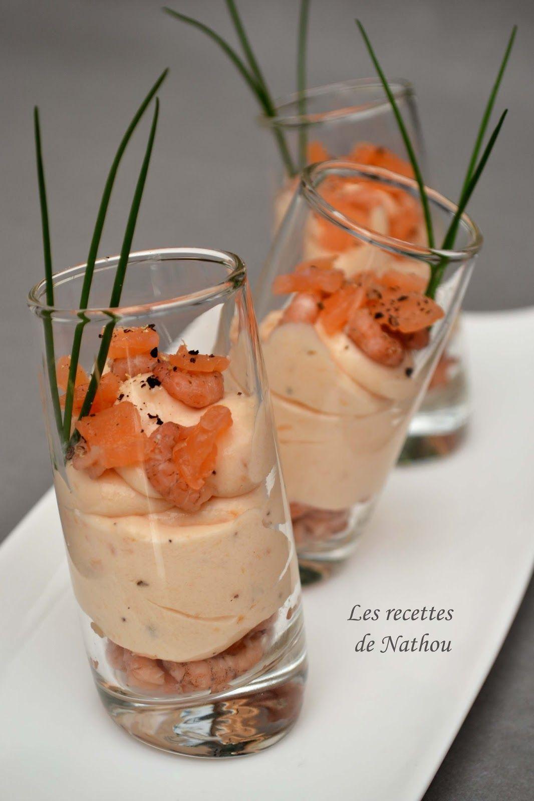 Les recettes de nathou verrines de mousse de saumon fum et crevettes grises poissons - Idee verrine noel ...