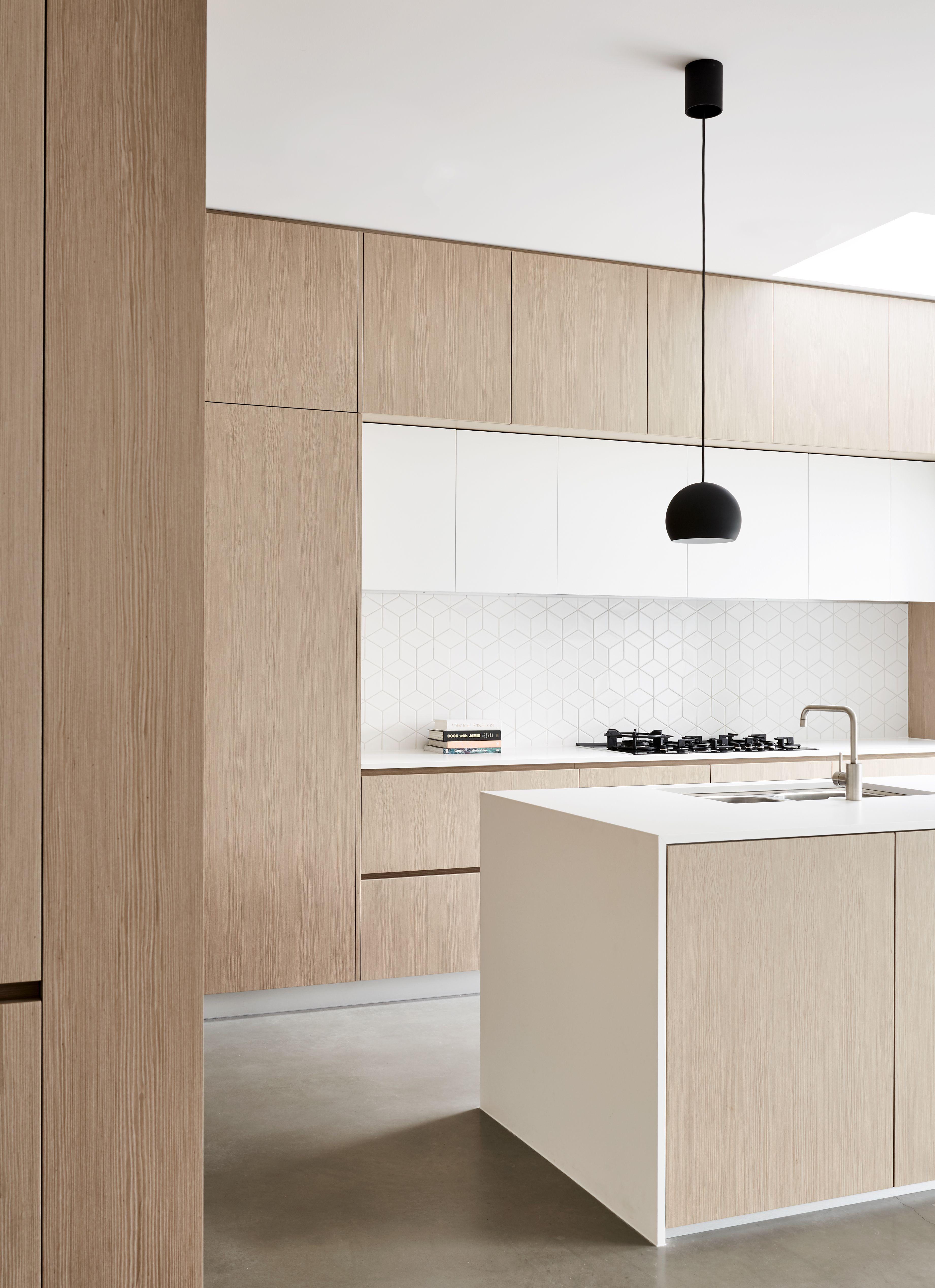 Kitchen   Wooden Finish   White Top   White Tiles   Concrete Flooring    Minimal Design