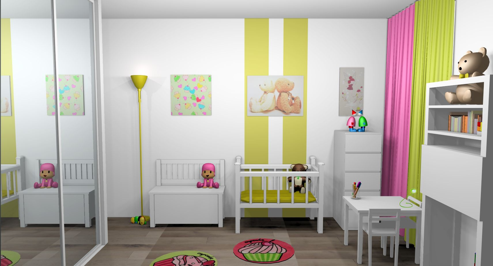 Chambre Mixte Fille Bebe Bandes Peinture Touches Vert Anis Rose 3