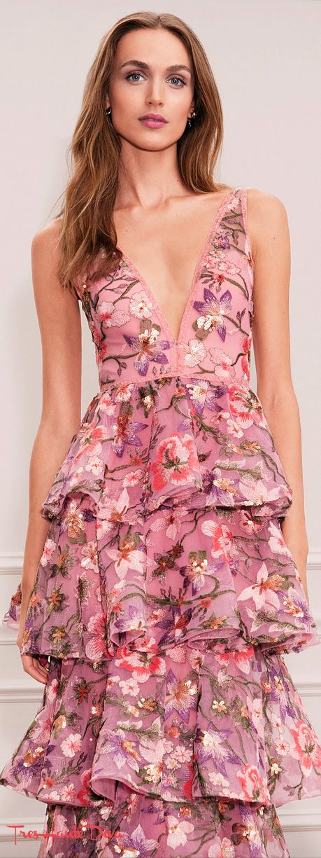 149abebbf6c Marchesa Notte Spring 2018 RTW pink and purple floral cocktail dress  MFW   MFWss18