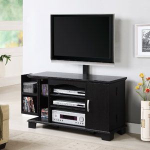 Black Wood Tv Stand With Media Storage And Mount For Tvs Up To 50