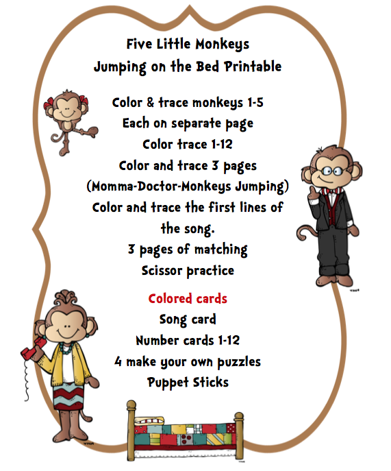 """""""Five Little Monkeys Jumping on the Bed"""" Printable"""