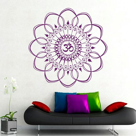 Wall Mandala Decal Om Symbol Vinyl Sticker Home Decor Bedroom Yoga - Yoga studio wall decals
