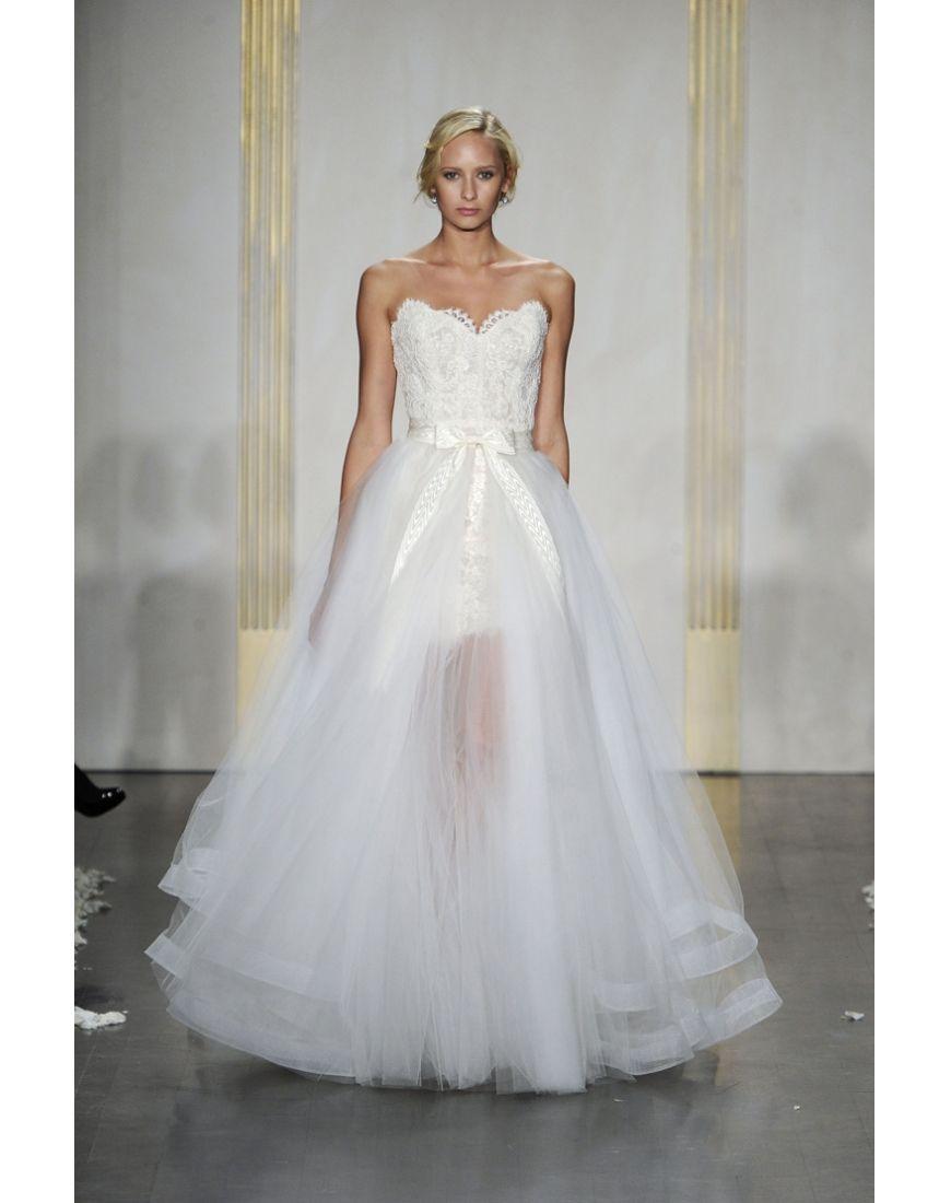 Cheap Lace Strapless Detachable Open Back Petticoat Wedding Dress