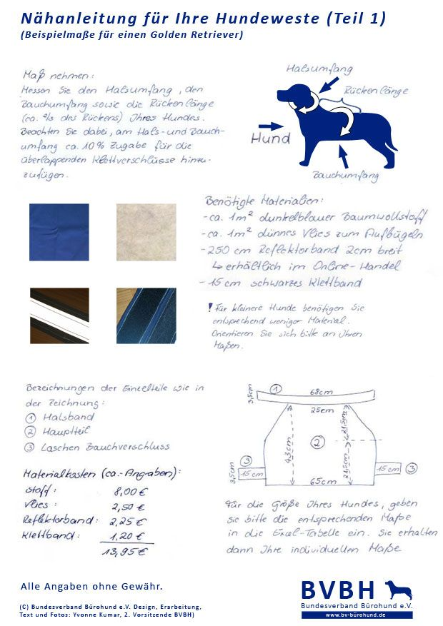 Nähanleitung Hundeweste Teil 01 - (C) Bundesverband Bürohund e.V. ...