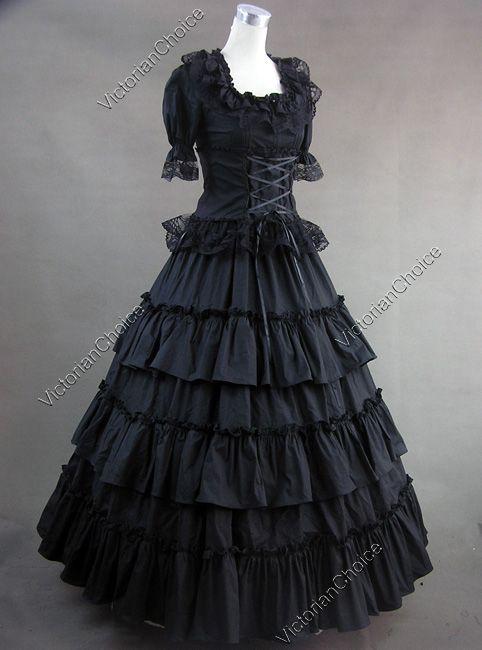 Gothic Civil War Lolita Cosplay Dress Ball Gown Punk Reenactment ...