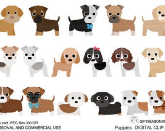 Puppies Digital clip art part 1 for Personal and Commercial use ...