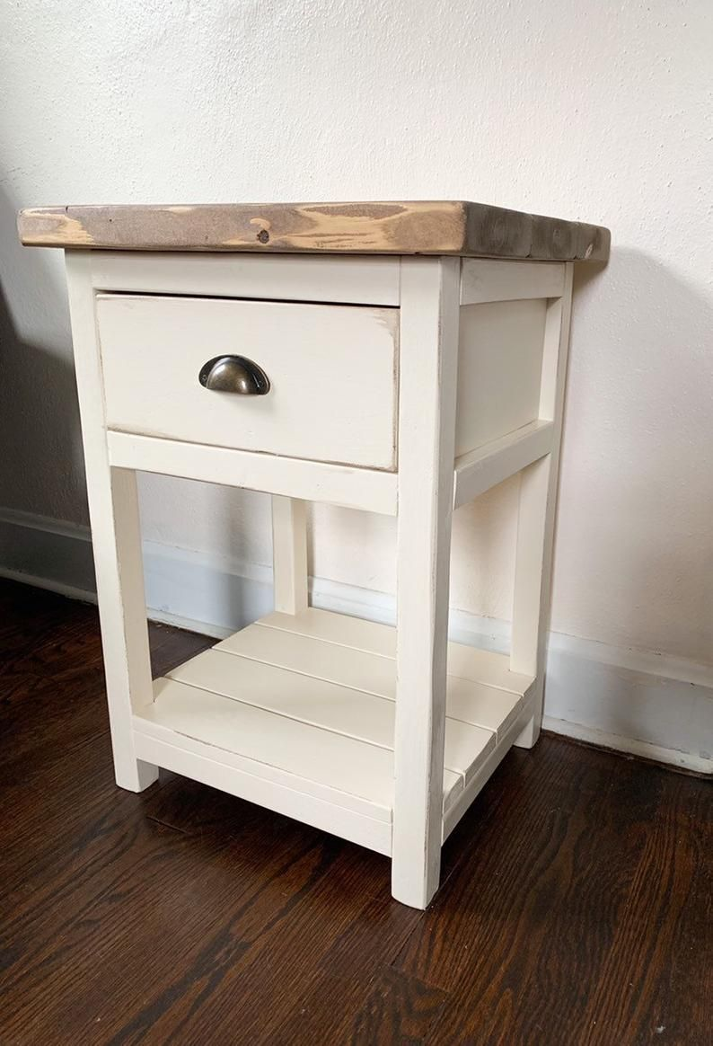 Chelsea farmhouse nightstand end table w drawer rustic