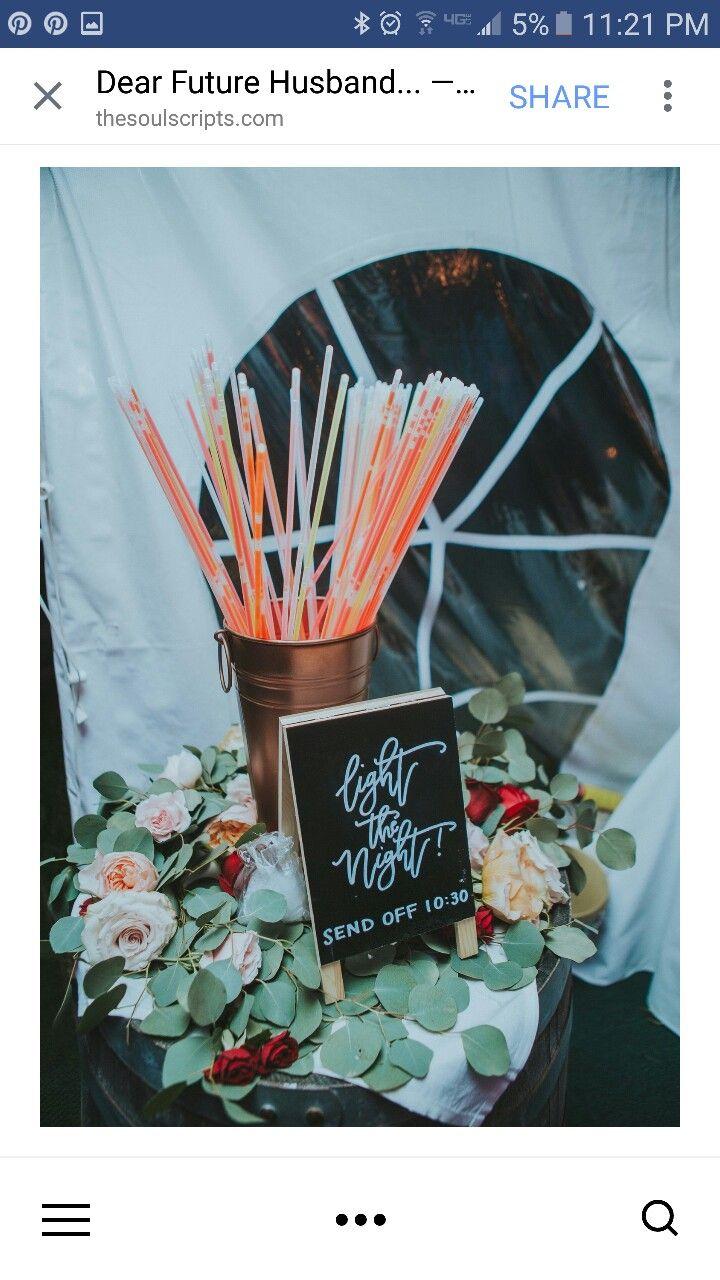 Glow Sticks send off instead of sparklers. Cool! Wedding