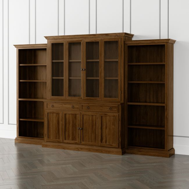 Cameo Nero Noce 4 Piece Glass And Wood Door Wall Unit With Open
