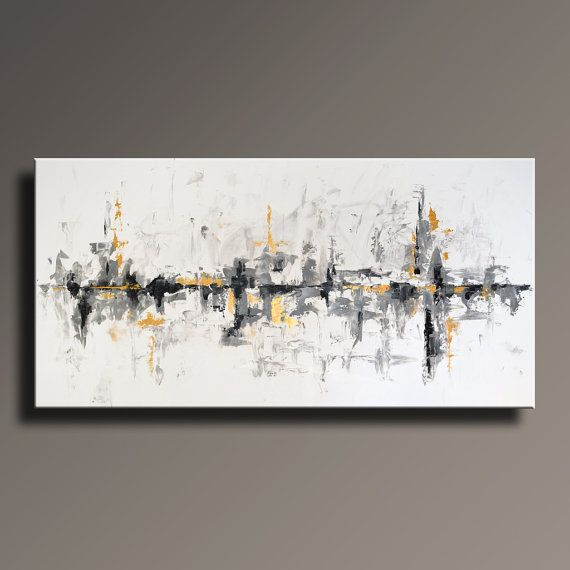 75 Large Original Abstract Black White Gray Gold Painting