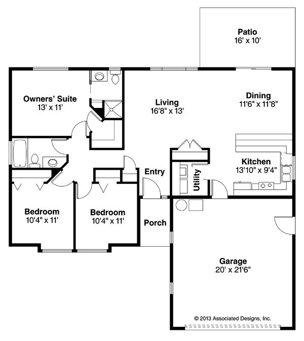 Halsey 30-847 - New Ranch House Plan from Associated Designs New