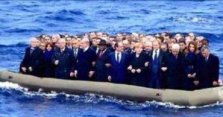 Leader europei sul gommone, il fotomontaggio e' una delle immagini più condivise sui social http://ow.ly/LWU3J