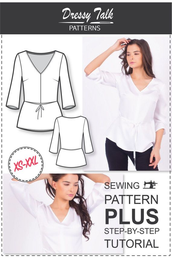 Peplum Top Pattern - V-neck Sewing Pattern - Sewing Patterns ...