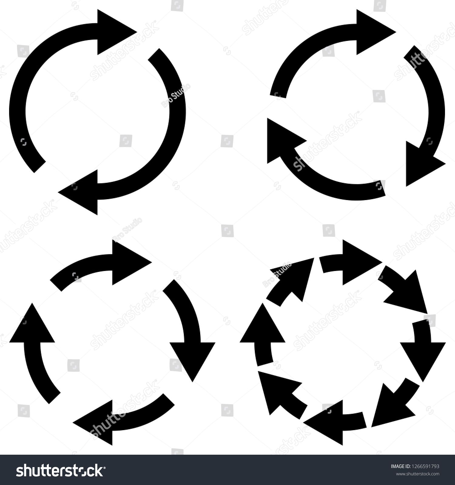 Set sign reload refresh icon, spinning arrows in a circle