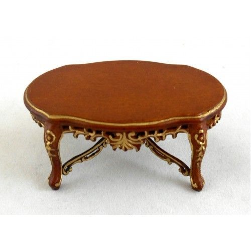 DELUXE MAHOGANY COFFEE TABLE  DOLLHOUSE FURNITURE MINIATURES