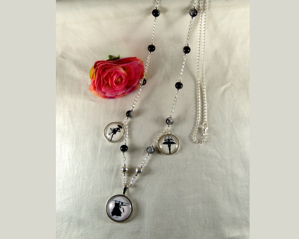 Fashionable long necklace -La petite Robe Noire- The little Black Dress,silver tone chain and glass cabochons by CapricesDeParisienne on Etsy