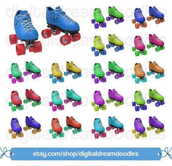 Roller Skate Clipart, Roller Skating Clip Art, Vintage Roller Skates Clipart, Derby Skater Graphic, Roller Skating Image, Instant Download