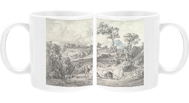 Photo Mug. Southern landscape with a man and a snake, 1847. Creator: Heinrich Dreber